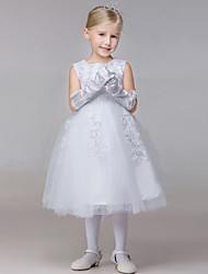 Ball Gown Ankle-length Flower Girl Dress - Rayon Sleeveless Jewel with