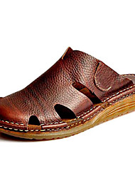 Men's Shoes Outdoor / Office & Career / Athletic / Dress / Casual Nappa Leather Sandals Black / Brown