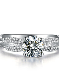 Luxury Micro Paved 300 Pieces Stones Mounting 1CT SONA Diamond Ring for Women Silver in Platinum Plated Engagement Ring