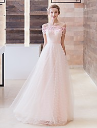 Formal Evening Dress A-line Off-the-shoulder Sweep / Brush Train Lace / Tulle with Appliques