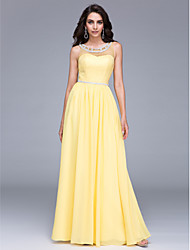 TS Couture Prom Formal Evening Dress - See Through Sheath / Column Jewel Floor-length Chiffon with Beading