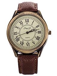Men/Women's Watch Vintage White Case Analog Quartz  Leather Dress Watch for Party Fashion Watch