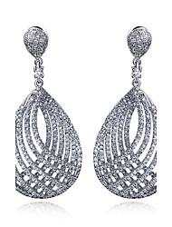 Earring Oval Drop Earrings Jewelry Women Fashion Wedding / Party / Daily / Casual / N/A Cubic Zirconia / Copper / Platinum Plated 1 pair
