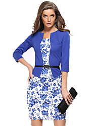 Women's Casual/Daily Vintage Sheath Dress,Floral Round Neck Above Knee ¾ Sleeve Blue / Red / Black / Purple