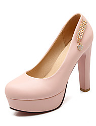 Women's Shoes PU Summer / Fall Heels / Round Toe Office & Career / Casual Chunky Heel Applique / Sparkling Glitter Blue / Pink / White