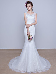 Trumpet / Mermaid Wedding Dress Court Train Scoop Lace with Appliques / Beading