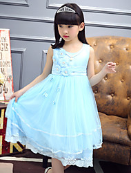 A-line Tea-length Flower Girl Dress - Cotton / Satin / Tulle Sleeveless Jewel with Appliques