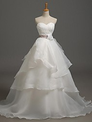 A-line Wedding Dress Sweep / Brush Train Sweetheart Organza with Criss-Cross / Flower