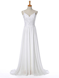 Sheath / Column Wedding Dress Simply Sublime Sweep / Brush Train Spaghetti Straps Chiffon with Appliques
