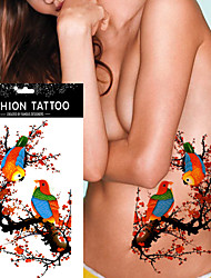 5Pcs Waterproof  Body Art Tattoo Wintersweet Parrot Tree Branch Design Fake Temporary Tattoo Sticker