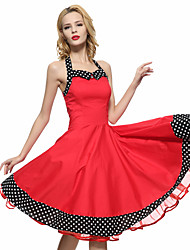Women's Red/Black Vintage Polka Dots Midi Swing Dress, Full Circle Halter