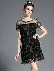 de la mujer elegante atractiva aofuli ver a través vestido delgado más el tamaño de las partes huecas de encaje bordado de alta
