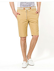 Men's Solid Casual Shorts,Cotton Blue / Brown
