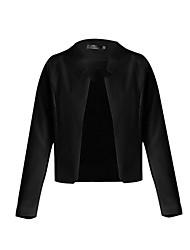 Women's Solid White / Black / Yellow Blazer , Plus Sizes Peaked Lapel Long Sleeve