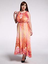 SWEET CURVE Women's Beach / Plus Size Boho Swing Dress,Print Round Neck Maxi Sleeveless Yellow Cotton Summer
