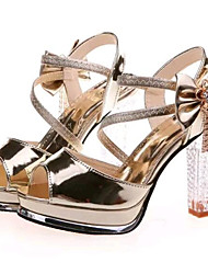 Women's Shoes Leatherette Summer Heels Party & Evening Stiletto Heel Bowknot / Buckle White / Gold