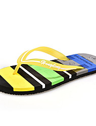 Men's Slippers & Flip-Flops Summer Comfort PU Casual Flat Heel Yellow Brown Blue