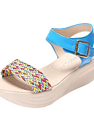 Damen Sandalen PU Sommer Normal Schnalle Blockabsatz Orange Beige Blau 5 - 7 cm