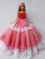 Princess Dresses For Barbie Doll Red / White Dresses