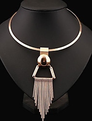 Women's Choker Necklaces Statement Necklaces Circle Sterling Silver Alloy Tassel Fashion Statement Jewelry European Costume Jewelry