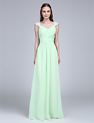 Lanting Bride Floor-length Chiffon Bridesmaid Dress Sheath / Column V-neck with Buttons / Draping / Sash / Ribbon / Criss Cross / Ruching