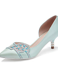 Women's Shoes Cowhide Summer / Pointed Toe Heels Office & Career / Casual Stiletto Heel Sparkling Glitter Blue / Pink