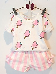 Girl's Casual/Daily Print Clothing Set,Cotton Summer Pink