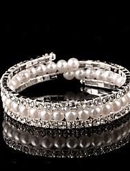 Pulseras y Brazaletes Brazalete personalizado de abalorios Plata / Perla Artificial Perla artificial / Cristal De mujeres
