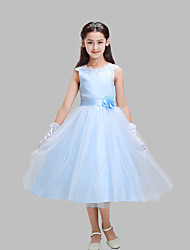 A-line Tea-length Flower Girl Dress - Cotton / Lace / Satin / Tulle Sleeveless Jewel with