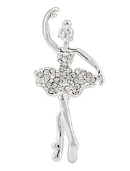 Silver Plated Alloy Elegant Rhinestone Ballet Dancing Girl Brooch for Wedding