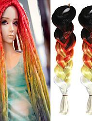 "Black Red Yellow Creamy Ombre Crochet 24"" Yaki Kanekalon Fiber 100g 4 Tone Jumbo Braids Synthetic Hair with Free Hook"