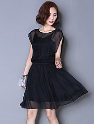 Women's Casual/Daily Street chic Chiffon Dress,Solid Round Neck Above Knee Short Sleeve Pink / Black / Green