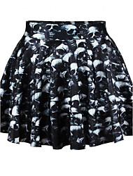 Women's Print Black Skirts,Sexy Above Knee
