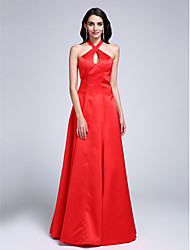 Formal Evening Dress A-line Halter Sweep / Brush Train Satin with