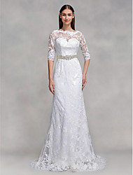 LAN TING BRIDE Trumpet / Mermaid Wedding Dress See-Through Sweep / Brush Train Bateau Lace with Lace