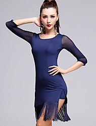 Latin Dance Dresses Women's Performance Tulle / Milk Fiber Tassel 2 Pieces Black / Blue / Orange Half Sleeve Top / Skirt