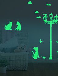 Luminous Diy Cute Home Cat Switch Wall Sticker Night Light Bedroom Fluorescent Wall Sticker