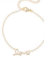 Kimiing Gold/Silver LOVE Letter Chain Bracelet Jewelry