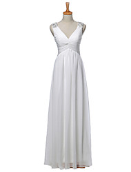Sheath / Column Wedding Dress Floor-length V-neck Chiffon with Appliques