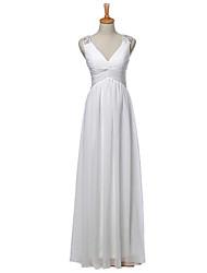 2017 bainha / casamento coluna vestido longo de chiffon v-pescoço com apliques