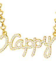 Couple's Pendant Necklaces Crystal Gold Plated Fashion Jewelry Wedding Party Daily Casual 1pc