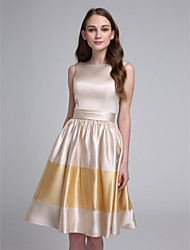 Lanting Bride Knee-length Stretch Satin Bridesmaid Dress A-line Bateau with Sash / Ribbon