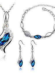 Women's Elegant Austrian Crystal Earrings Necklace Set