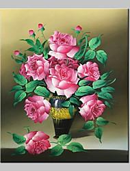 Peint à la main A fleurs/Botanique Peintures à l'huile,Réalisme / Classique Un Panneau Toile Peinture à l'huile Hang-peint For Décoration