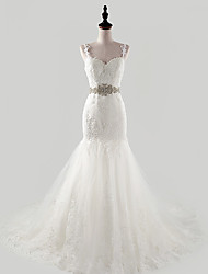 Fit & Flare Wedding Dress Court Train Spaghetti Straps Tulle with Appliques / Crystal / Pearl / Sash / Ribbon