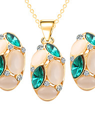 Oval Drops Green Crystal Pendant Exquisite Necklace + Earrings Jewelry Sets