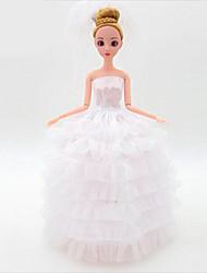 Roupas de Boneca Hobbies de Lazer Vestido de casamento Plástico Branco Para Meninas 5 a 7 Anos