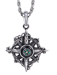 Kalen®China Jewelry Manufacturer  Factory Direct Selling Men's Stainless Steel Compass Shaped Pendant Neckalce