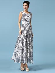 Women's Party Boho Chiffon / Swing Dress,Geometric V Neck Maxi Sleeveless White Cotton / Polyester All Seasons
