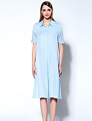 Boutique S Women's Going out Sophisticated T Shirt Dress,Solid Shirt Collar Knee-length Short Sleeve